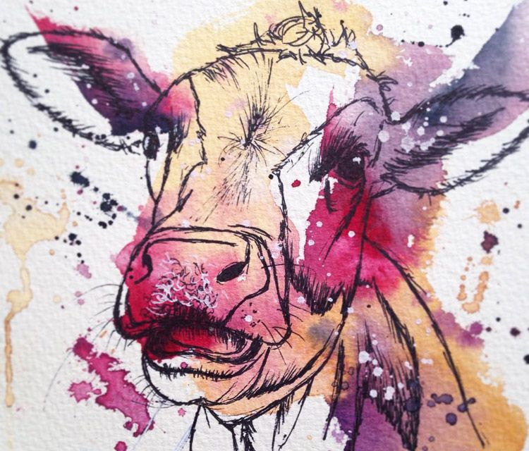 tori-ratcliffe-art----pink-cow---watercolor-painting------02112015182537.jpg (750×640)