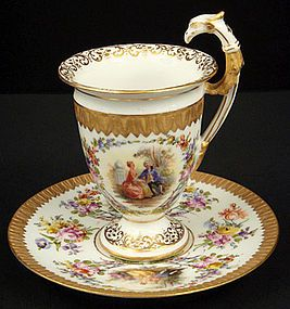 Antique Dresden Chocolate Cup & Saucer