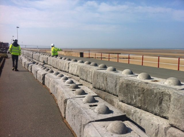 Cpm S Modular Concrete Blocks Being Installed At Rhyl Promenade To Protect Against Flooding Flood Protection Concrete Blocks Wall Systems