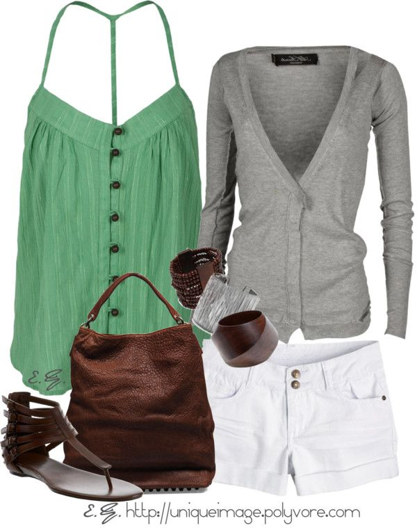 """Green T-Strap Top"" by uniqueimage ❤ liked on Polyvore"