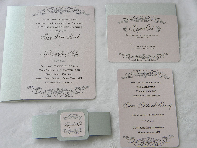 Pink and Grey Vintage Design Wedding Invitation Suite printed on ...