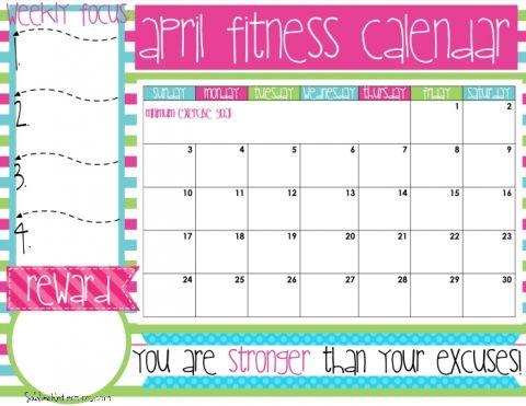 April Fitness Calendar Healthy Eats Pinterest Fitness calendar