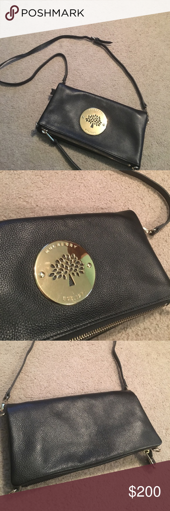 2a2526615f Mulberry Fold Over Crossbody Authentic! Exterior leather is in mint  condition! Only wear on exterior is minor scratches to gold emblem.