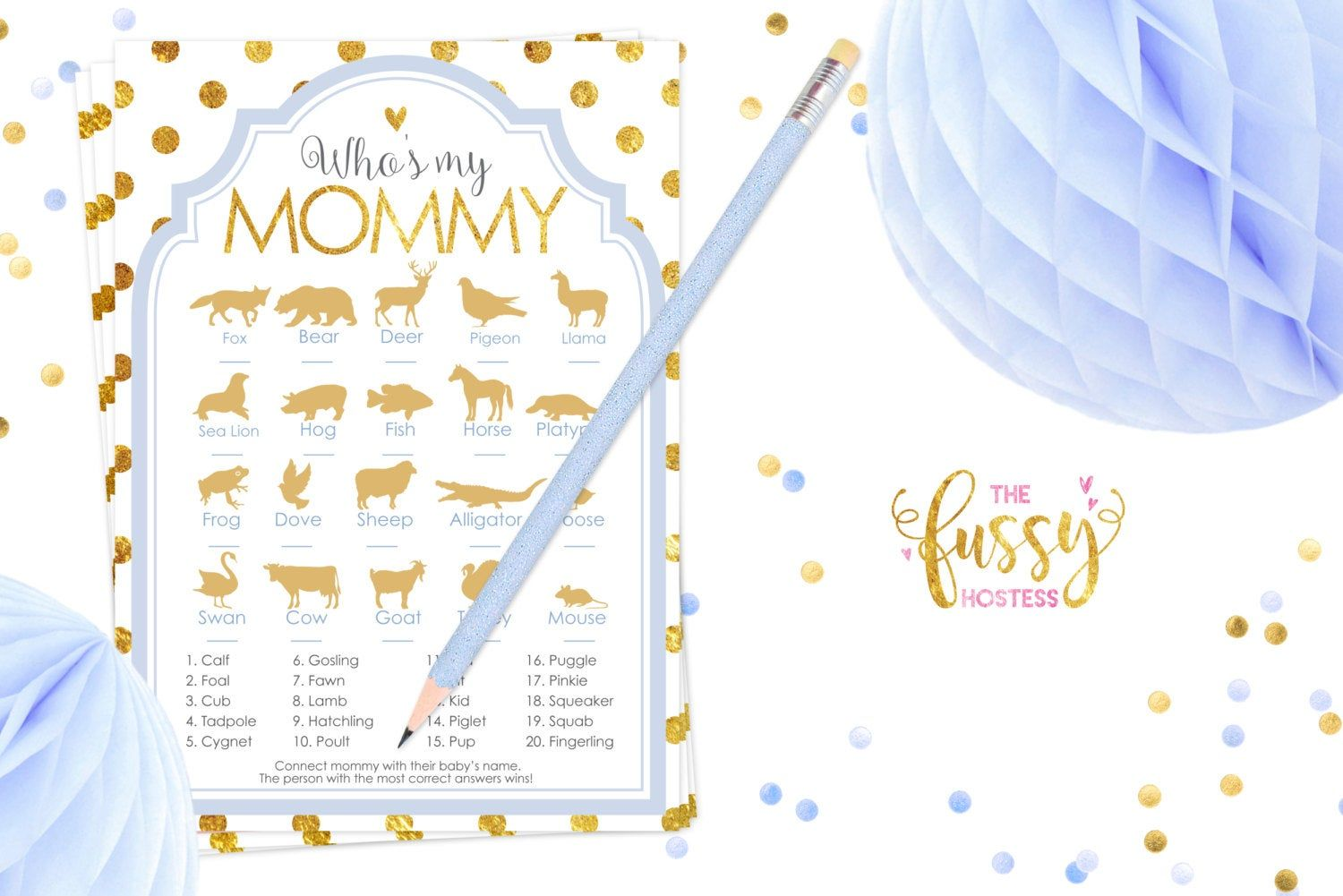 Who Is My Mommy Baby Shower Games Animal Names Baby