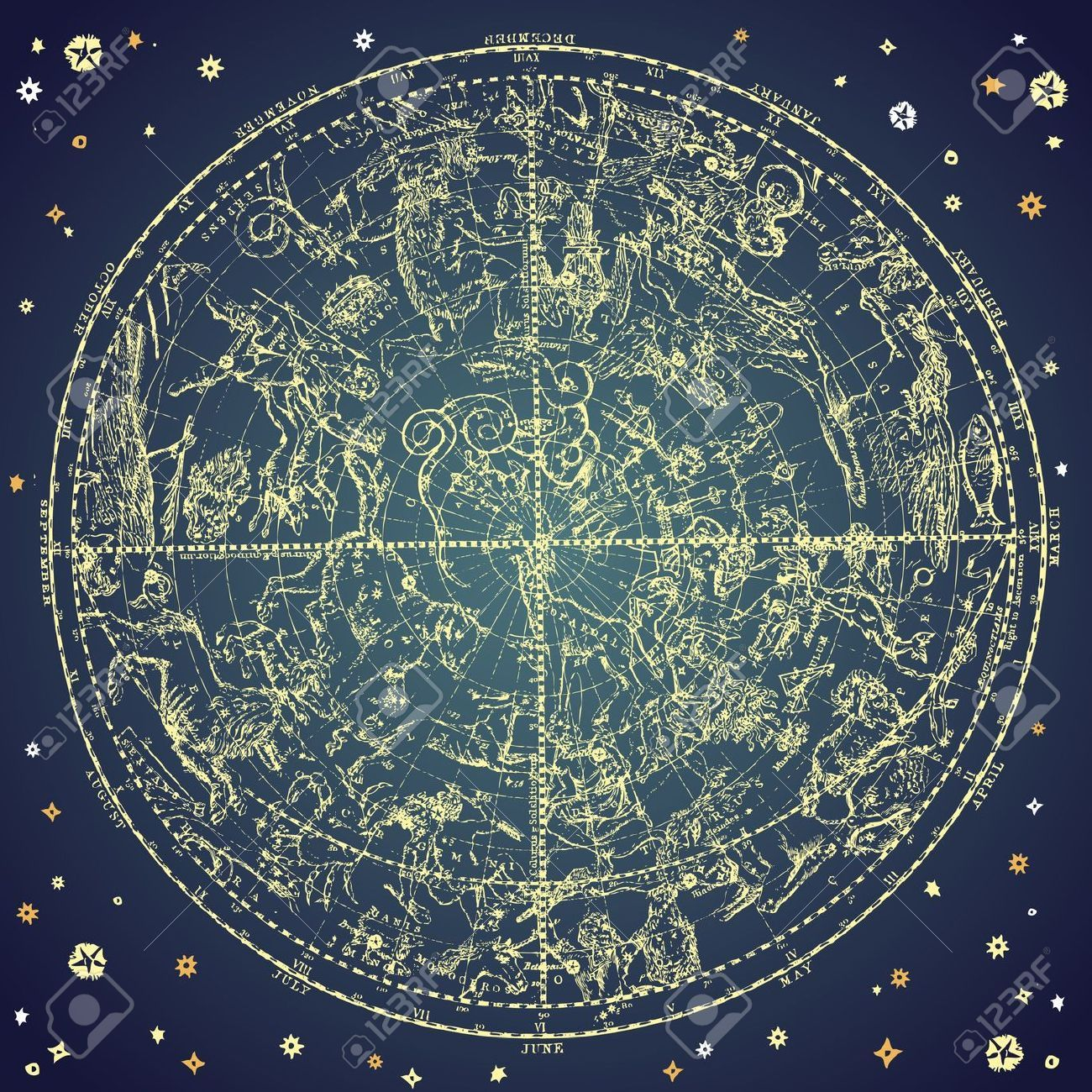 Stock Vector | Stars! | Zodiac constellations, Constellations, Star