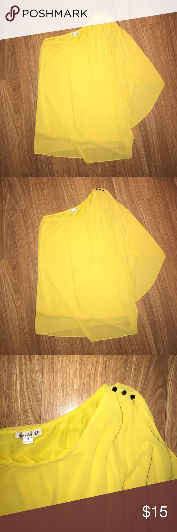 One shoulder yellow shift dress statement jewelry yellow dress