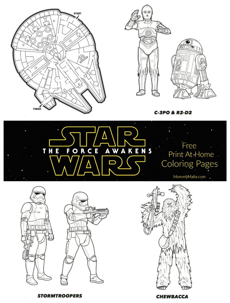 Free Print at home Star Wars The Force Awakens coloring sheets