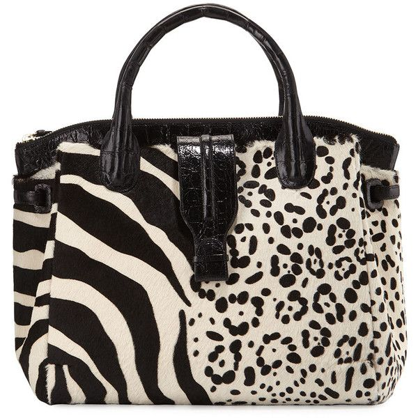 Nancy Gonzalez Cristina Large Calf-Hair Tote Bag ($3,350) ❤ liked on Polyvore featuring bags, handbags, tote bags, zip top tote bag, zippered tote bag, animal print tote, animal print purses and zip tote