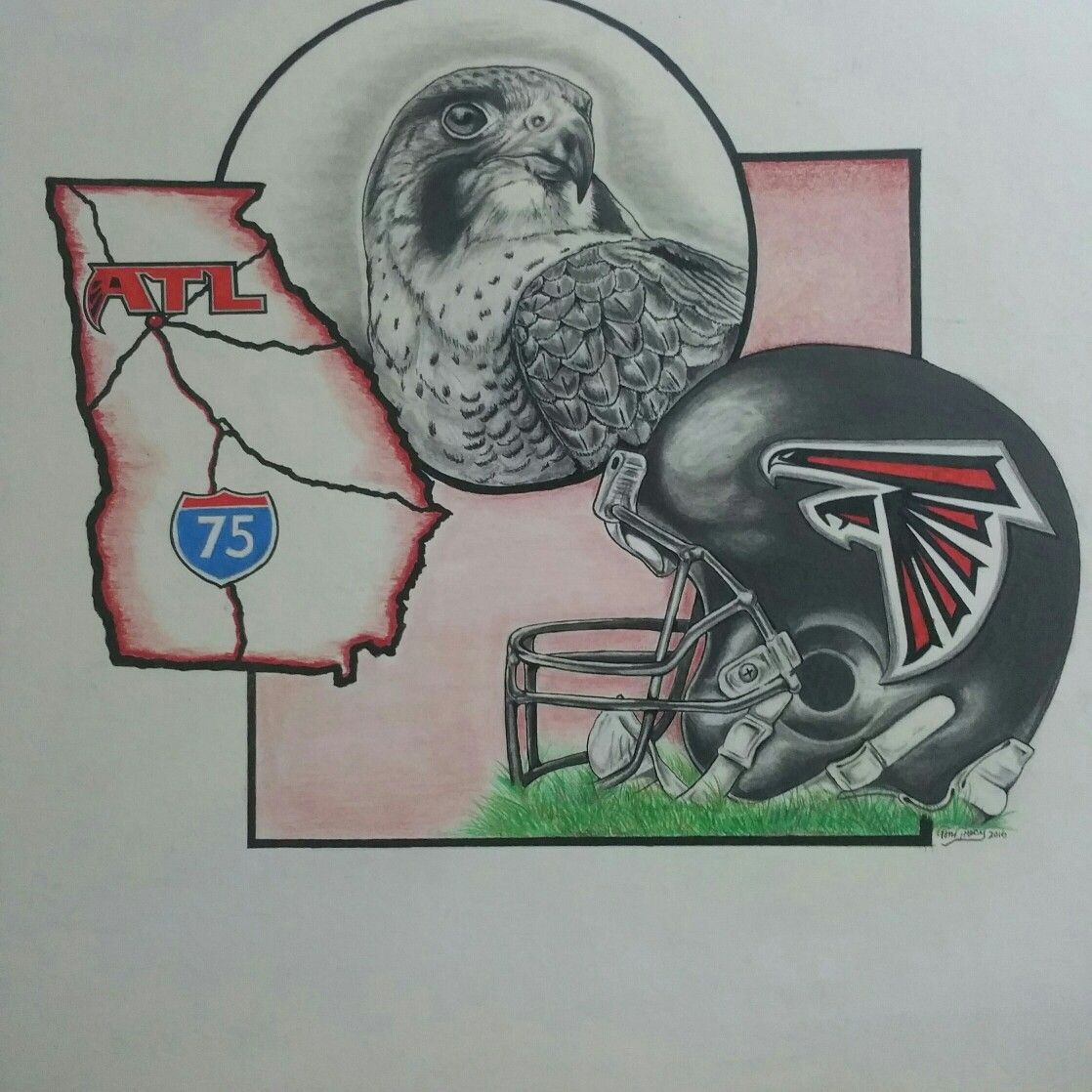 Atlanta Falcon Piece I Did For A Friend S Son Ace Tattoo T Art Art