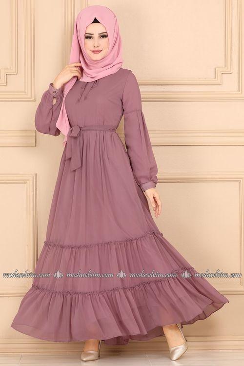 Modaselvim Elbise Firfirli Sifon Tesettur Elbise 4044mb205 Gul Kurusu Sifon Elbise Elbise Dugun Elbise