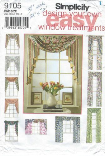 9105 Simplicity Easy Design Window Vallance Curtain Drapes NIP ...