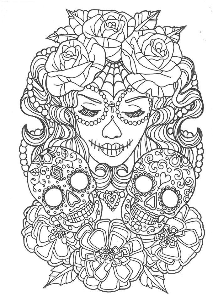 Pin On Sugar Skulls Day Of The Dead Coloring Pages For Adults