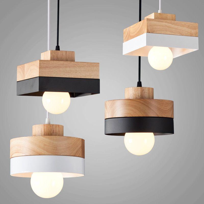 180mm X 120mm hout ijzer hanglamp zwart wit houten opknoping met ...