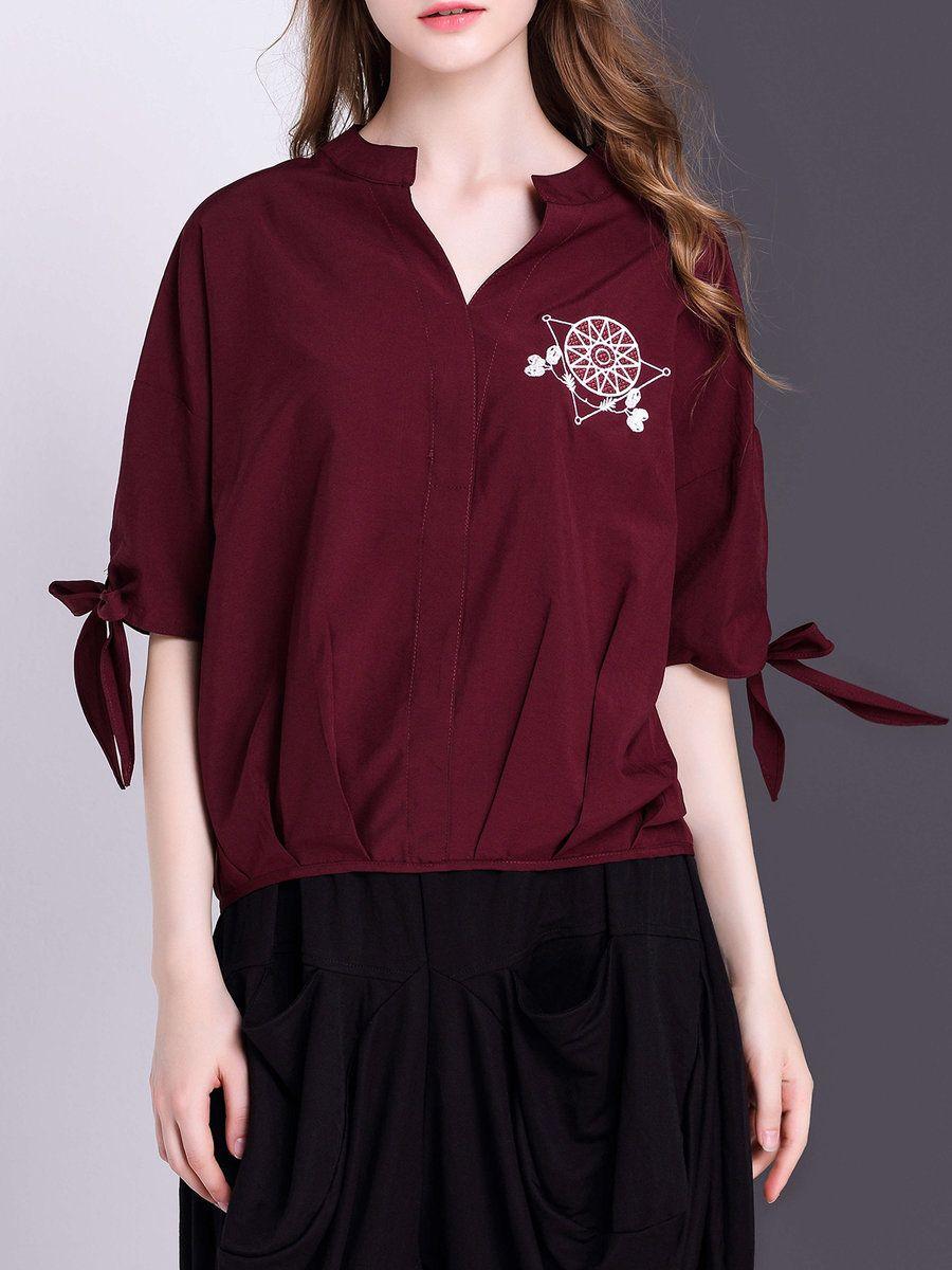 Adorewe stylewe blousesdesigner veinfuns simple shirt collar