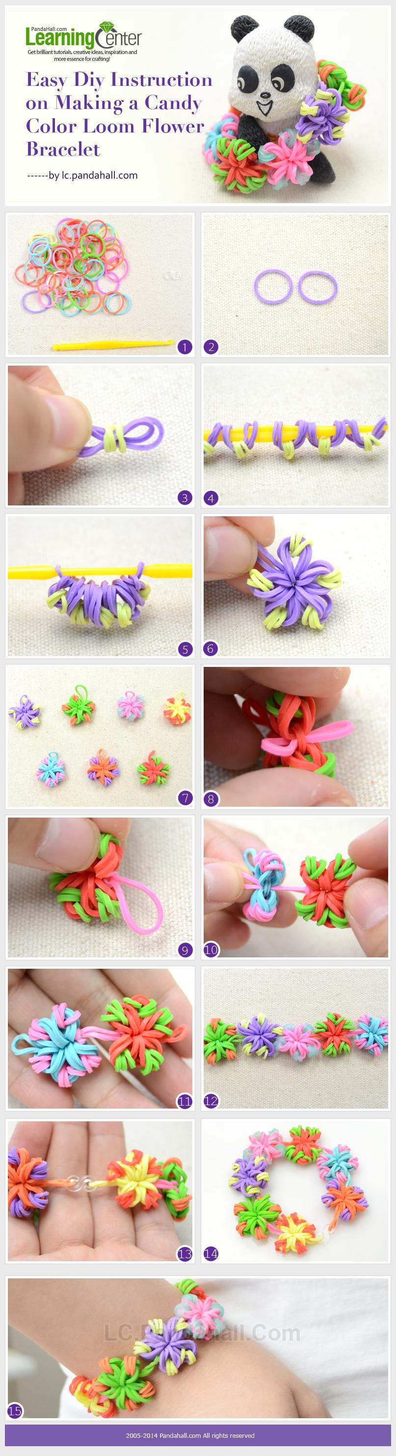 Easy DIY Instruction on Making a Candy Color Loom Flower Bracelet - Kreabarn.dk har Danmarks største udvalg af tilbehør og elastikker til loom, fun loom og rainbow loom.