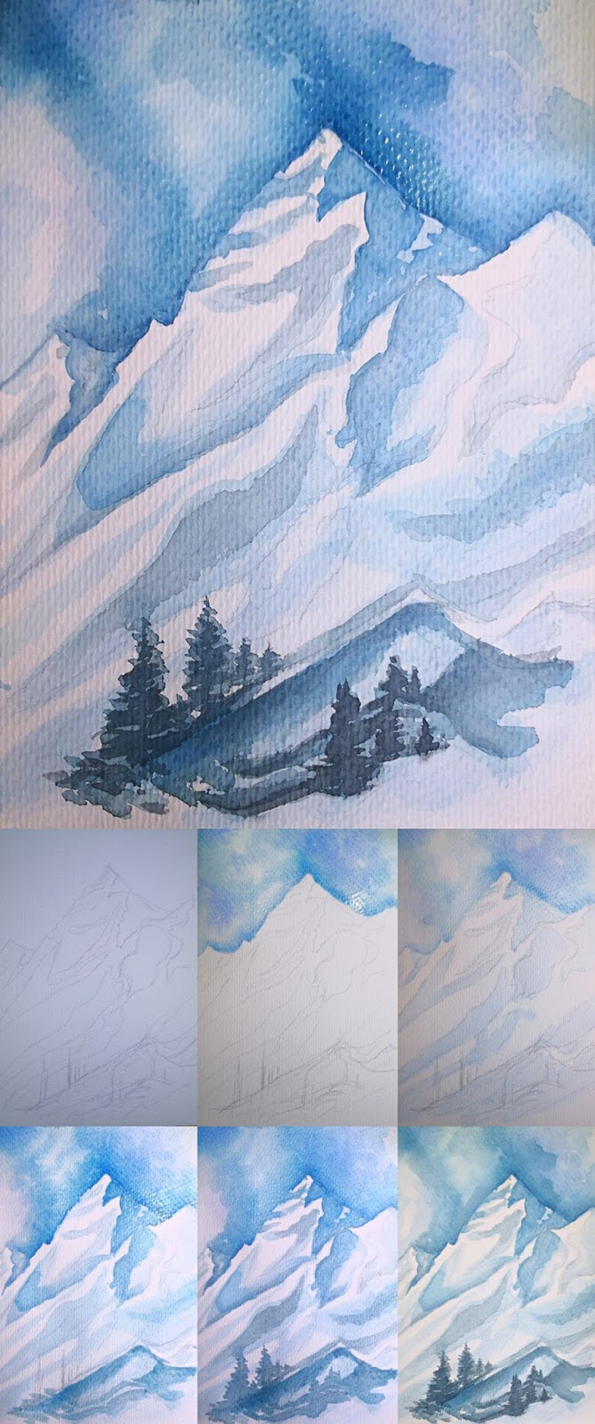 2 How To Draw Snow Mountains Hi Newself In 2020 How To Draw Snow Mountain Drawing Watercolor Paintings Easy