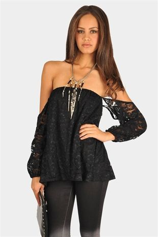 Perfection Lace Off The Shoulder Top - Black. I love it!