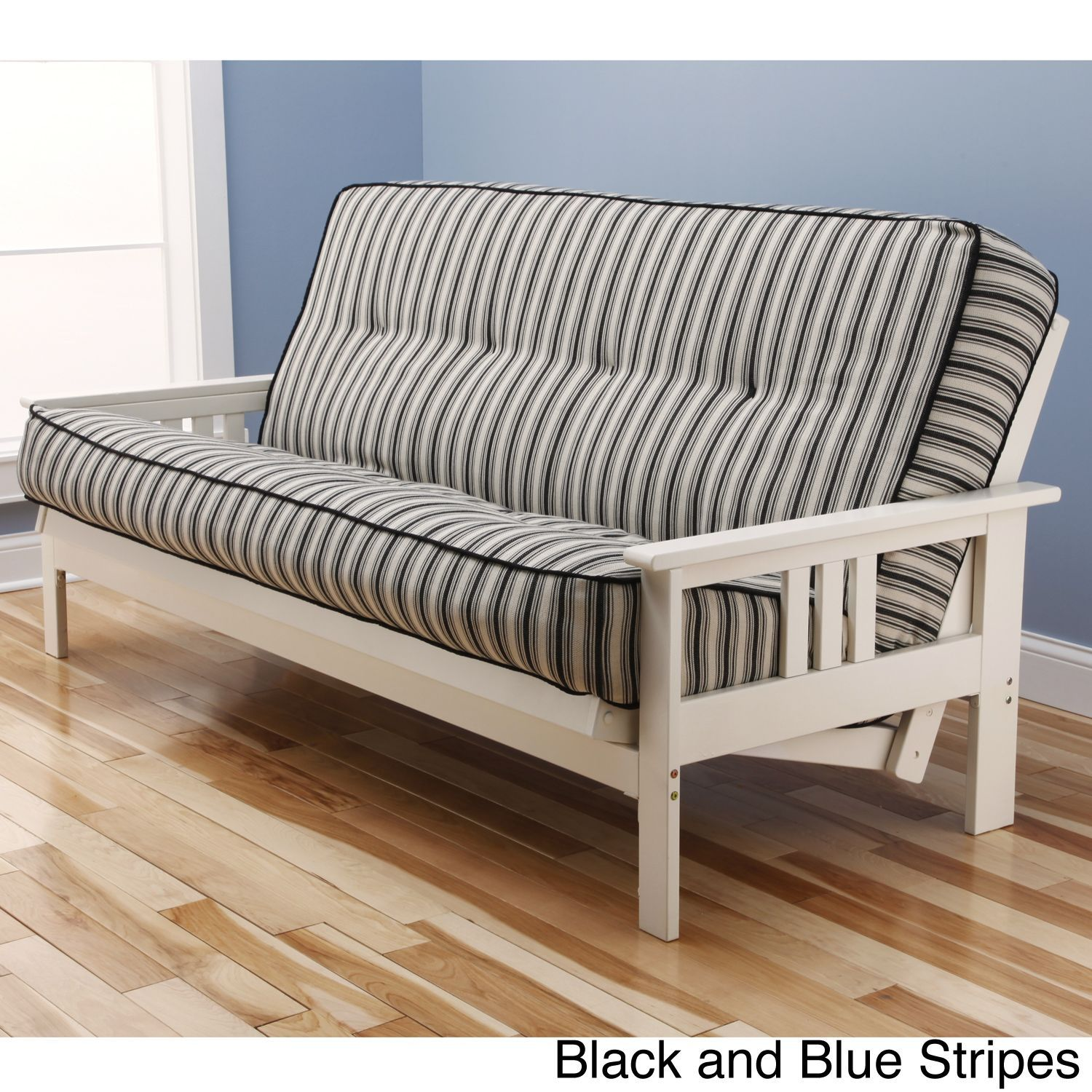 Somette Beli Mont Multi Flex Antique White Wood Futon Frame With  Innerspring Mattress Set (Black And Blue Stripes), Size Full