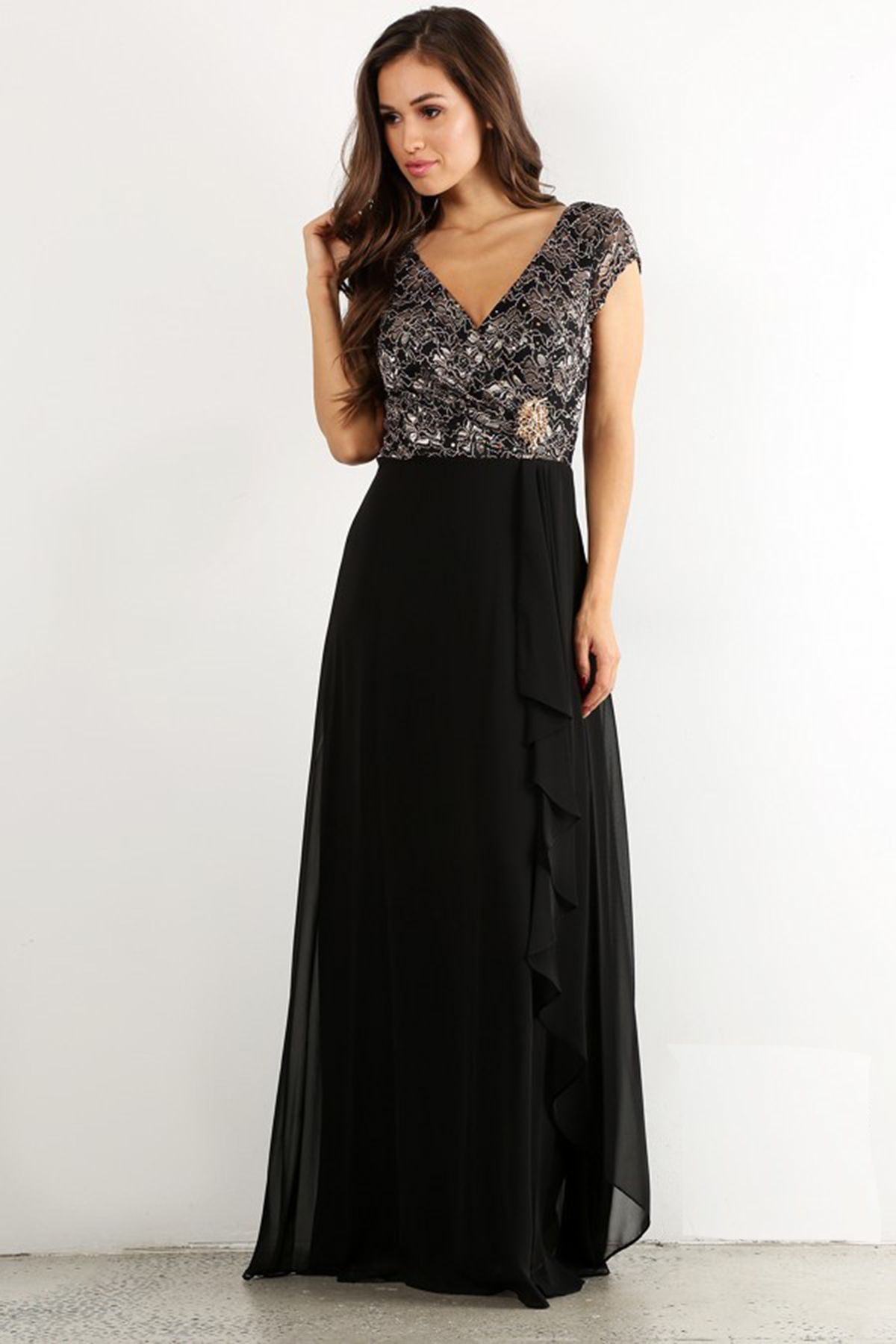 Perfect long evening gown fy solid color long evening dress has