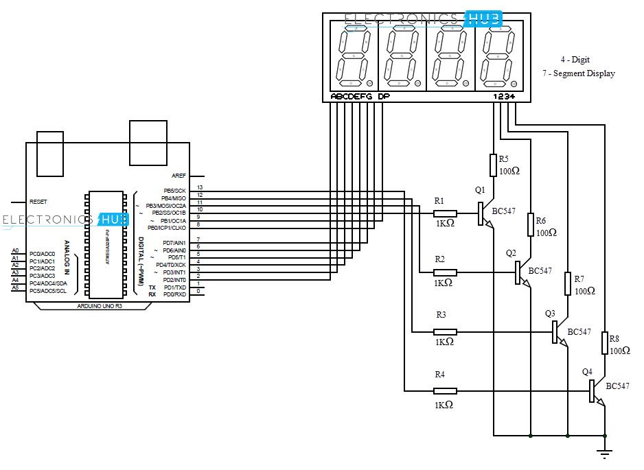 diagrama esquemtico do display de 7 segmentos com arduino