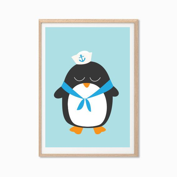 Baby Penguin in Sailor Outfit Poster  Modern by SealDesignStudio, $10.00