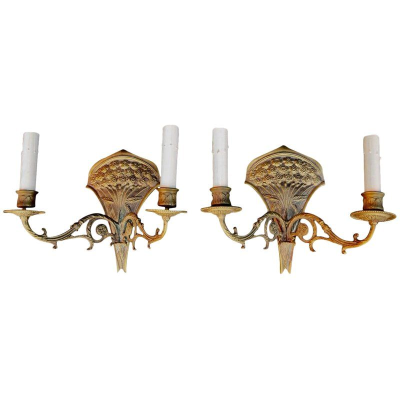 French 19th Century Bronze Sconces A Pair Sconces Bronze French Walls