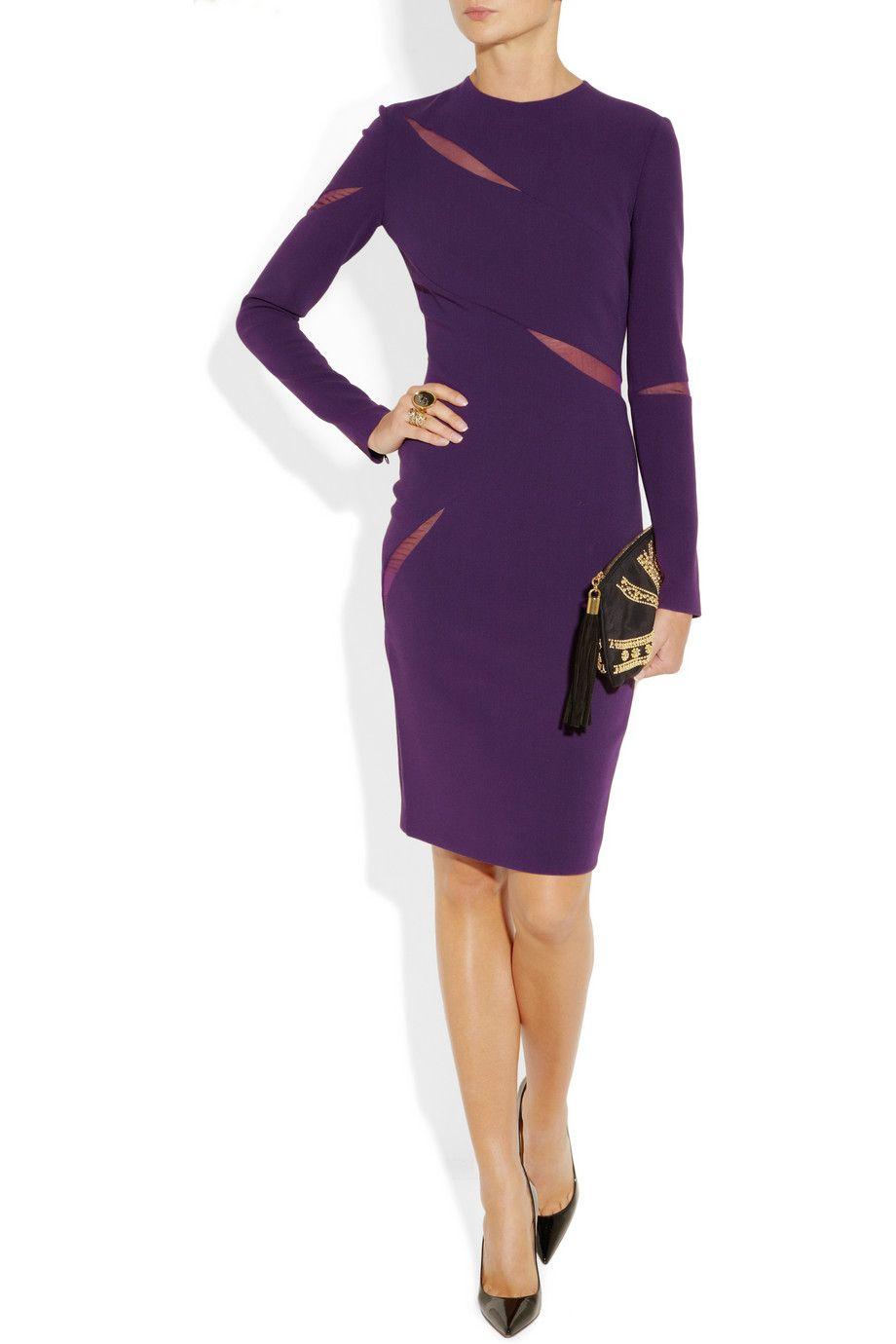 Emilio Pucci|Mesh-paneled stretch wool-blend crepe dress