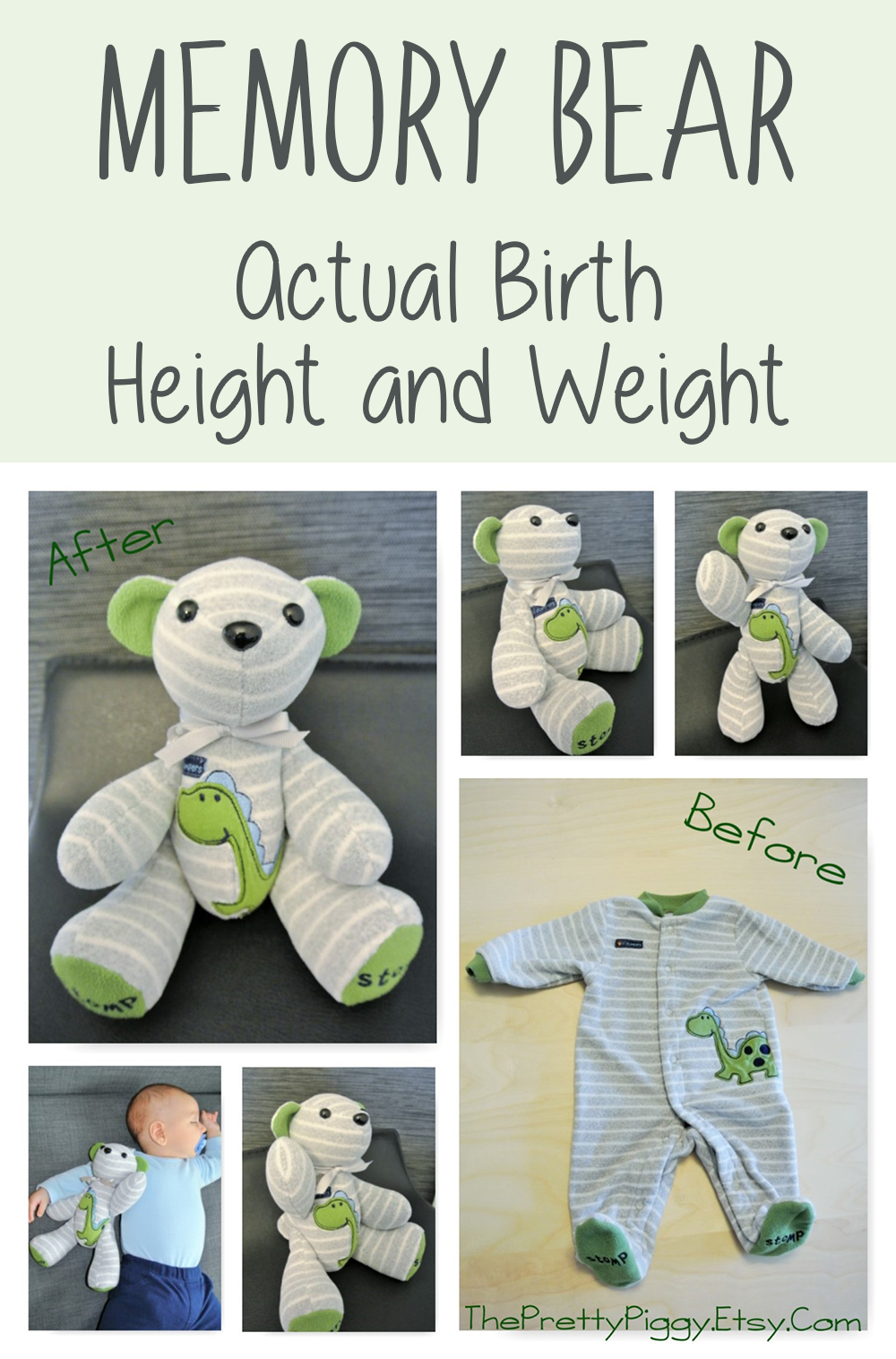 Full Term Memory Bear Actual Birth Height Weight Baby Cans Rattle Stick This Adorable Teddy Is Made From Your Childs Clothing Not Only Does Feature Little Ones Cute Outfit It Also The And
