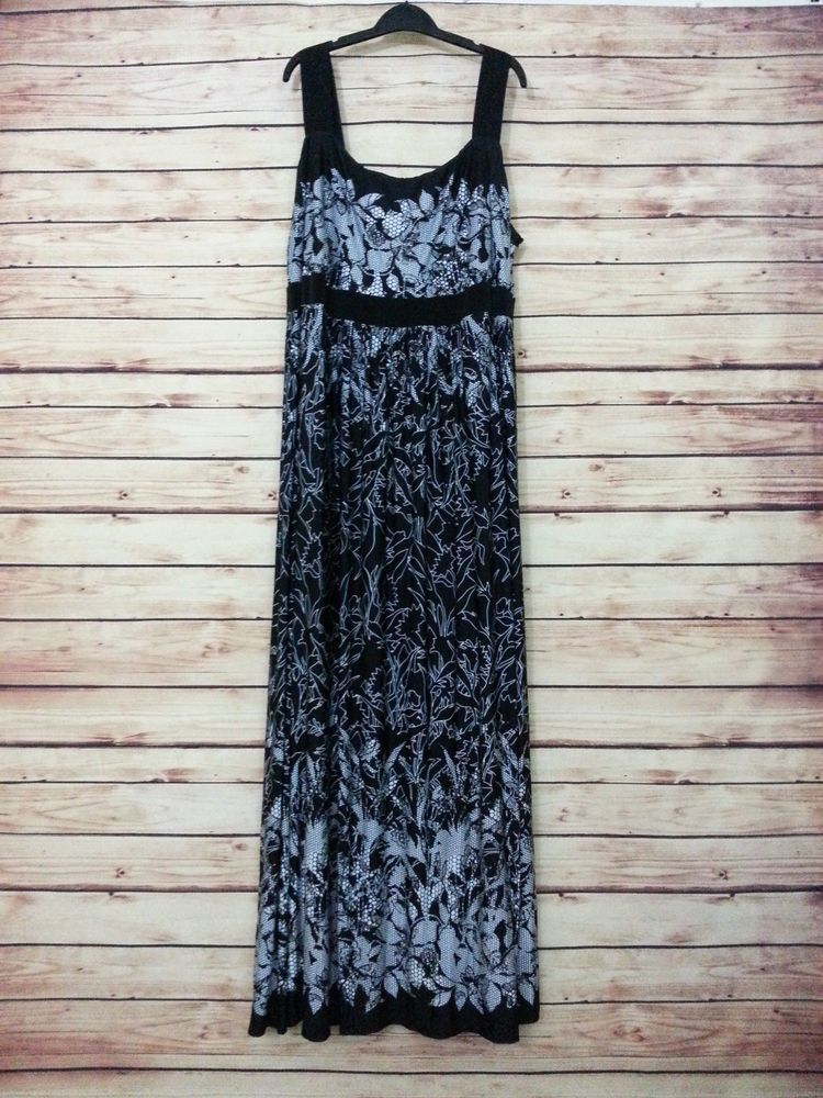 NWOT IGIGI maxi dress size 26 / 28 floral black white print boho casual work #IGIGI #BeachDress #Casual
