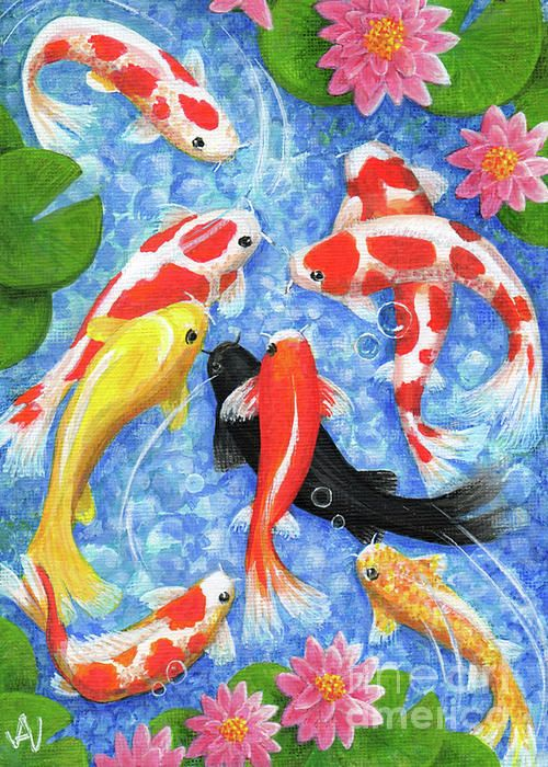An Acrylic Painting Of Nine Koi Fish Swimming In A Bright Blue Pond