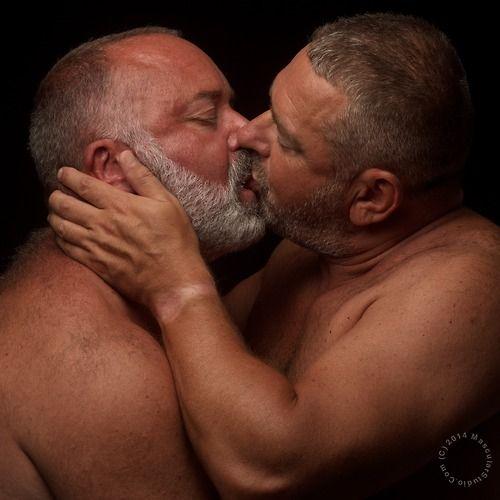 Mature gay kiss