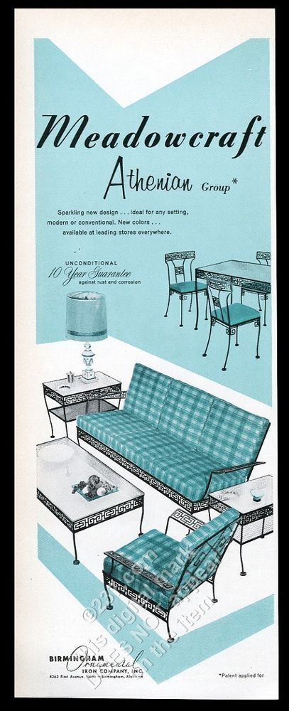 1958 Birmingham Ornamental Wrought Iron Meadowcraft Atheinian Sofa Chair  Tabl Ad | EBay