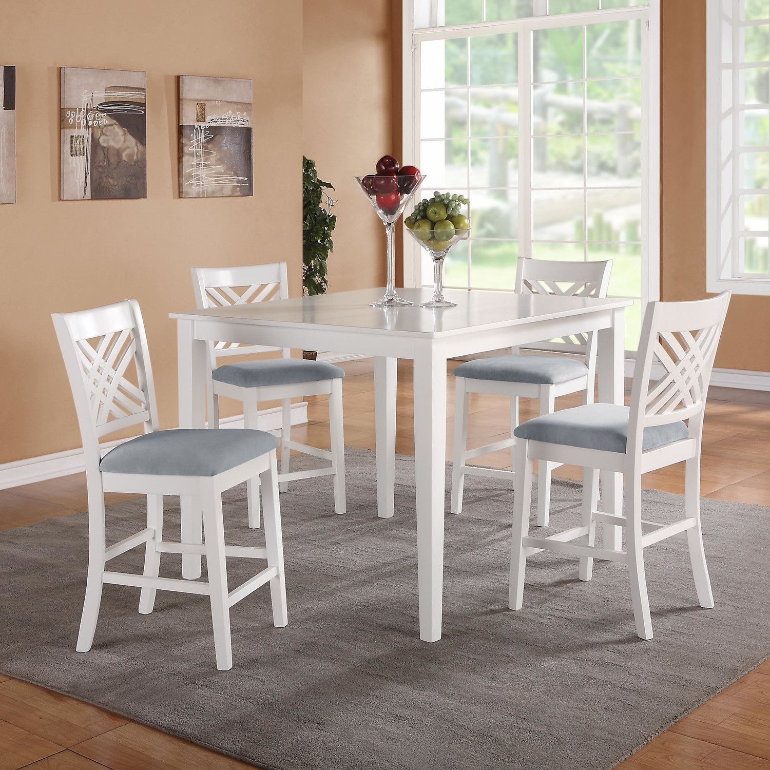 Brooklyn Collection White Counter Dining Set Includes Table And Four Side Chairs Features Smooth Transitional Styling Great Detailing On