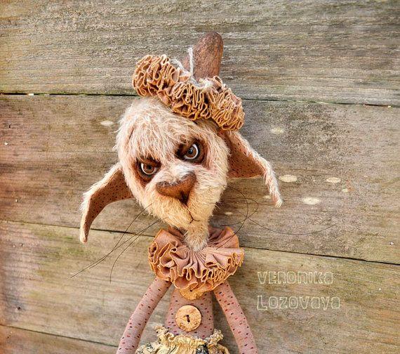 Gothic Artist Cat Gloom the Clown.  Mohair by DarkAlleyArtDolls
