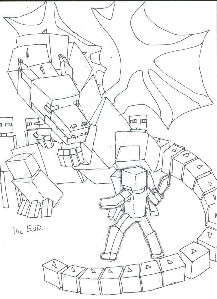 A Drawling Of The Ender Dragon Minecraft Coloring Pages Dragon