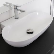lavabo bagno da appoggio a bacinella design moderno ceramica bianco monoforo new