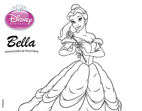 Dibujo de La Bella y la Bestia - Princesa Bella para colorear ...