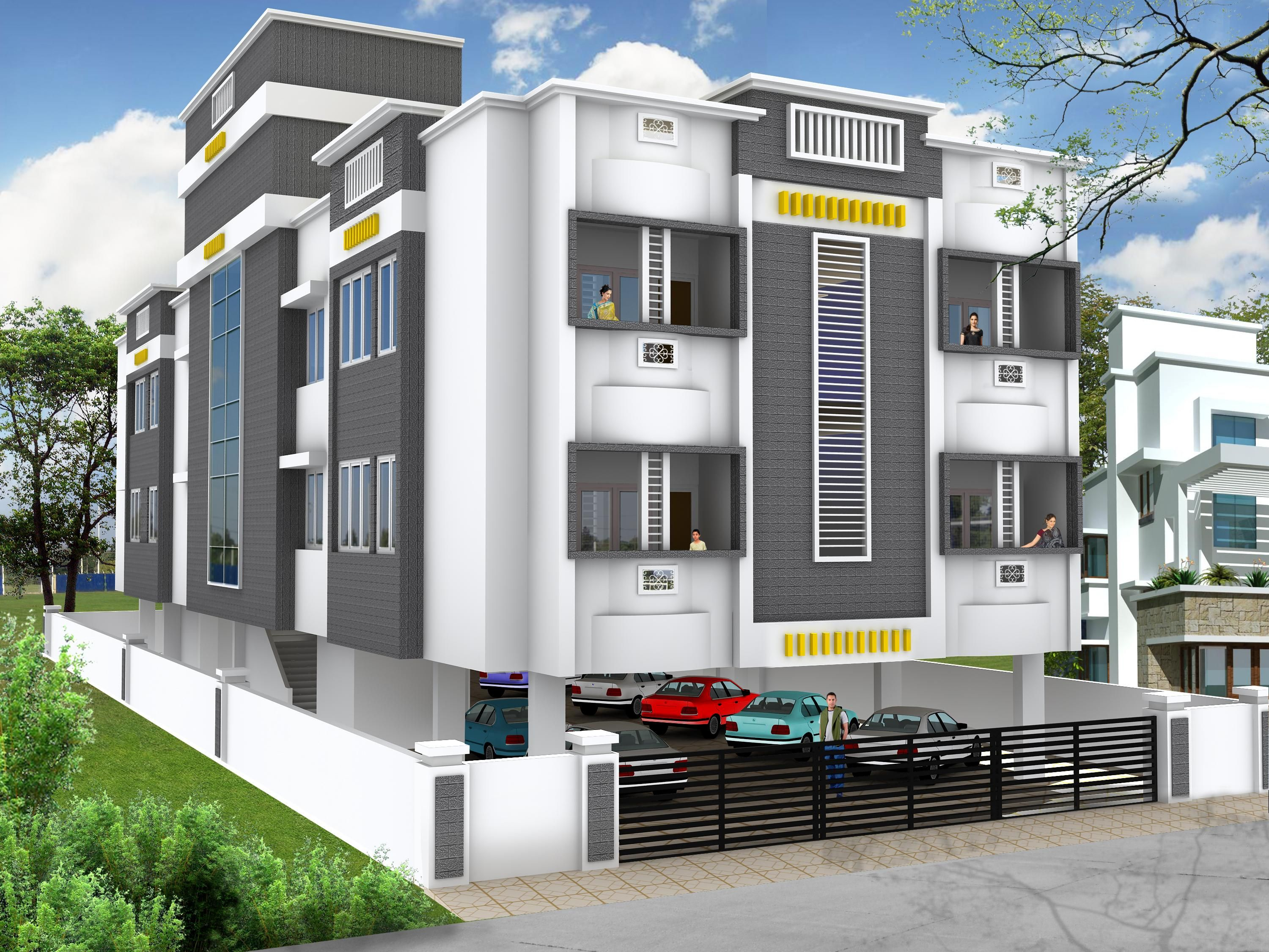 Elevations of residential buildings in indian photo for 3 storey building front elevation