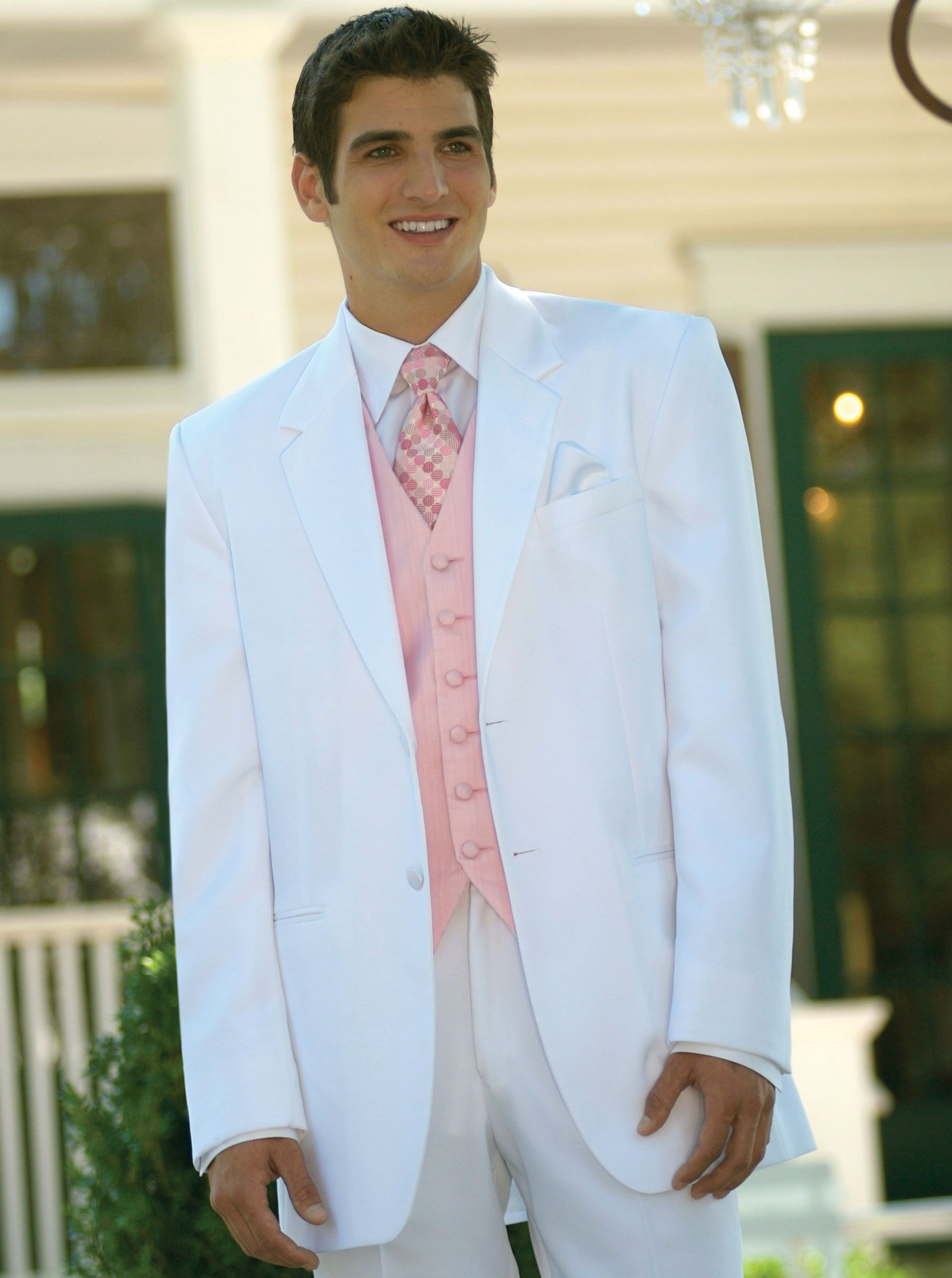 White two button by Red Sleeve Prom tuxedo, Wedding tux