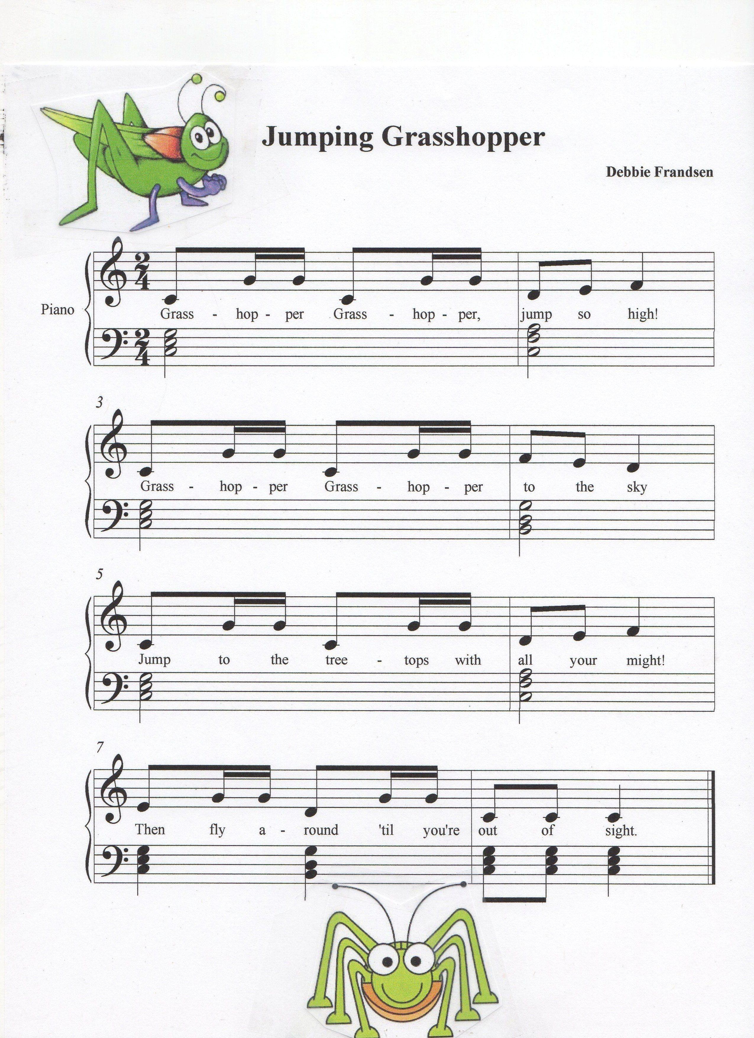 Jumping Grasshopper Piano Music Piano Music Lessons Saxophone Sheet Music [ 3509 x 2550 Pixel ]