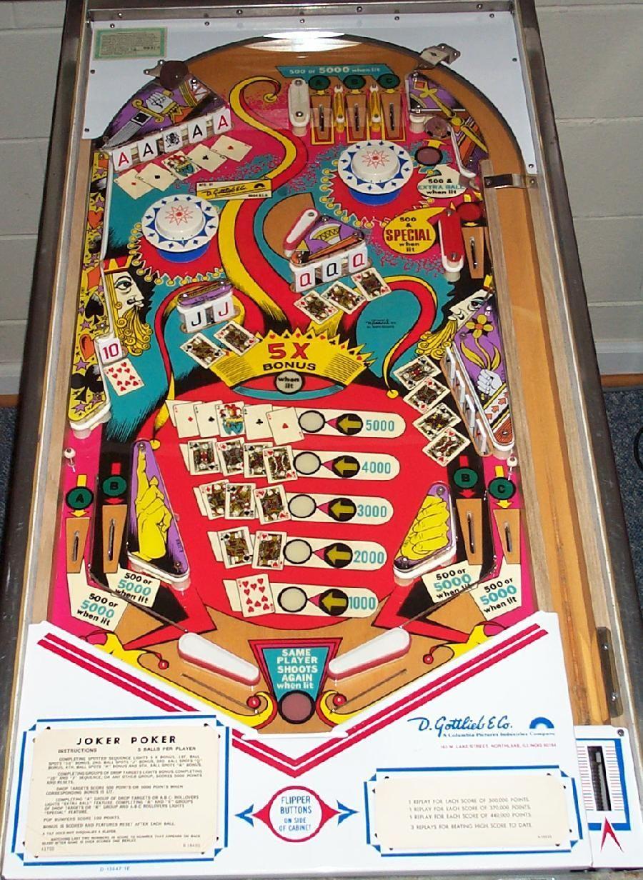 Image Result For Photos Of Gottlieb S Joker Poker Pinball Machine Pinball Online Card Games Flipper Pinball