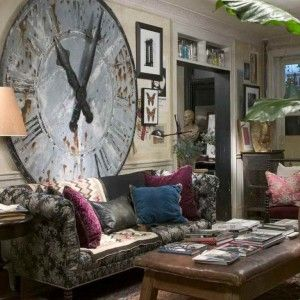 Over Sized Antique Wall Clock In Classic Living Room ...