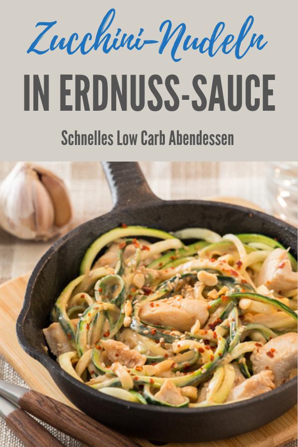 Zucchininudeln in Erdnuss-Chili-Sauce #zucchininoodles