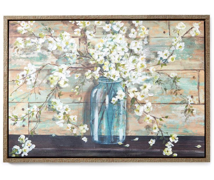 Flowers In Jar Canvas In Frame Wall Art 26 X 36 At Big Lots Flowers In Jars Canvas Wall Decor Wall Canvas