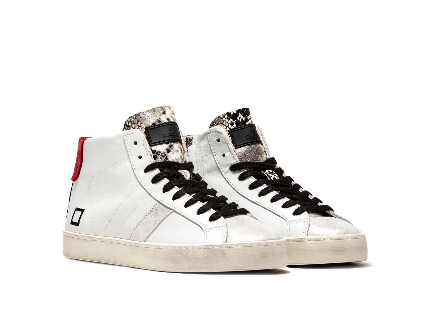 Date Sneakers HILL HIGH CALF WHITE RED | Scarpe D.a.t.e.