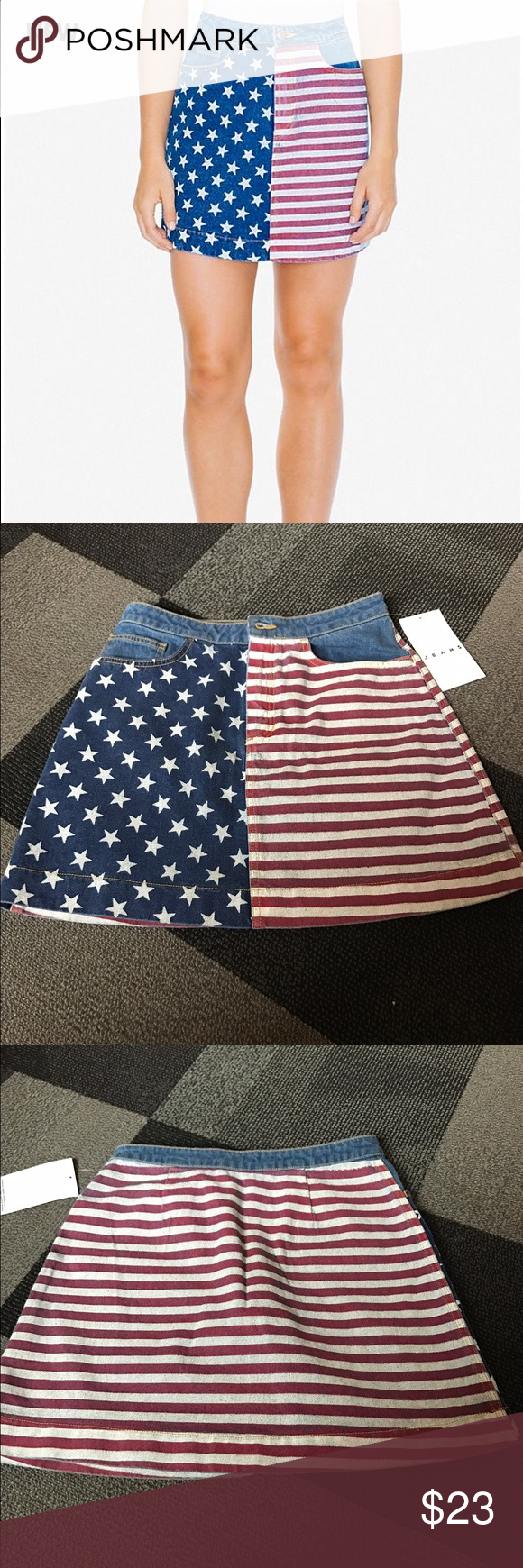 American Apparel American Flag Denim Skirt Denim skirt with button fastener it was just way too big for me will fit a size medium American Apparel Skirts Mini