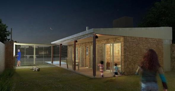 Contrafrente de casa criolla plan procrear arquitectura for Casa procrear clasica techo inclinado 3 dormitorios