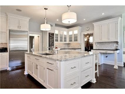 White Kitchen Cabinets Marble Island Dark Hardwood Floors Dark Kitchen Floors