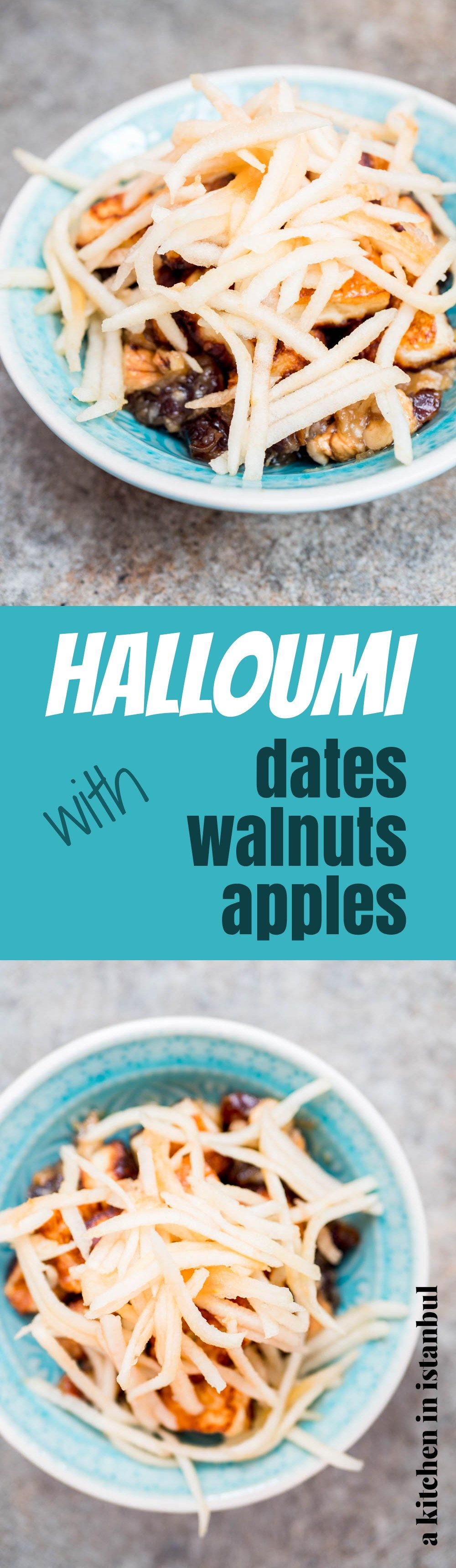Halloumi with dates, walnuts & apple - recipe / A kitchen in ...