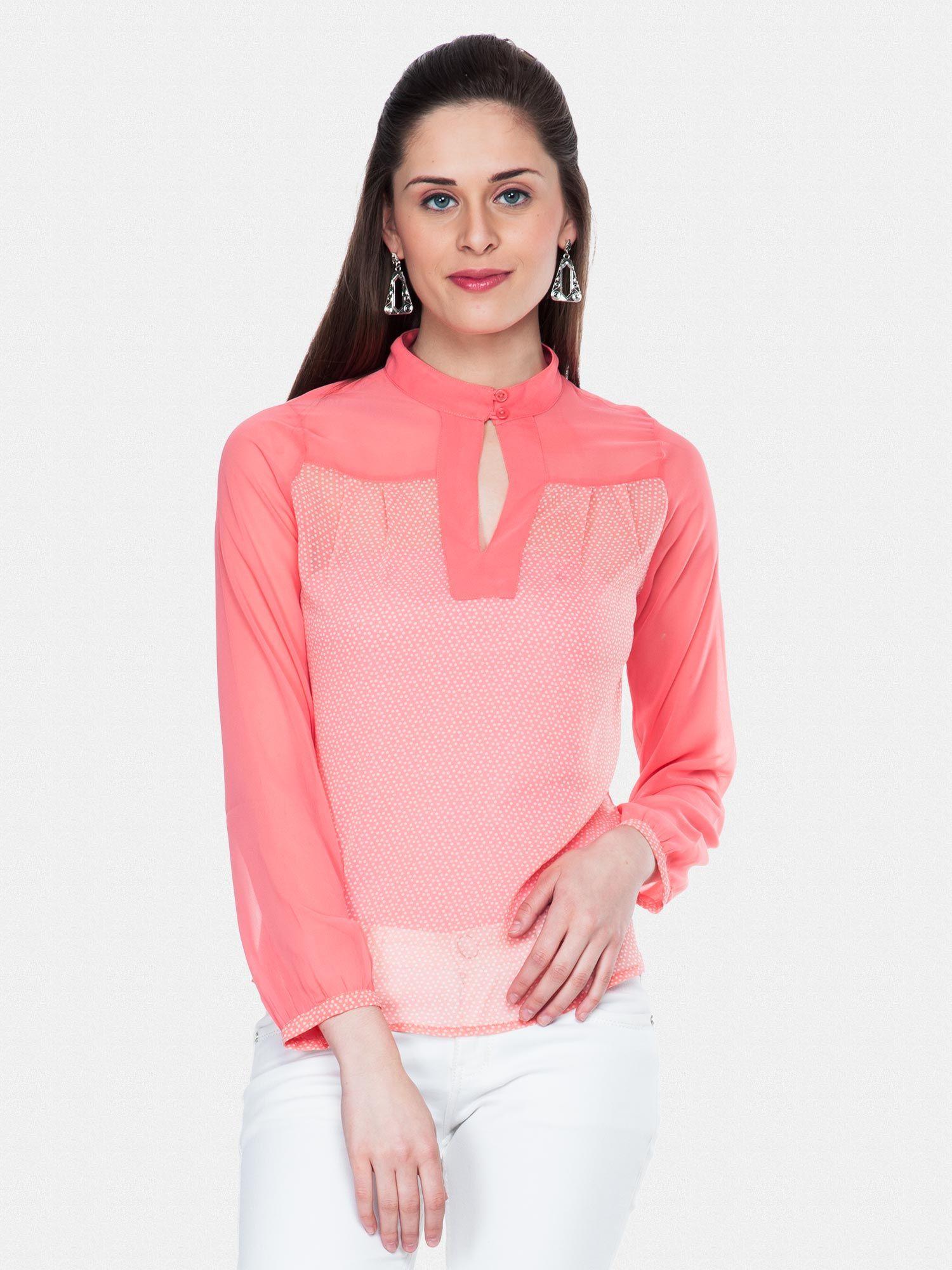 d23ec85357c80c Ladies Tops Online – Dual Pink Dots Sheer Top